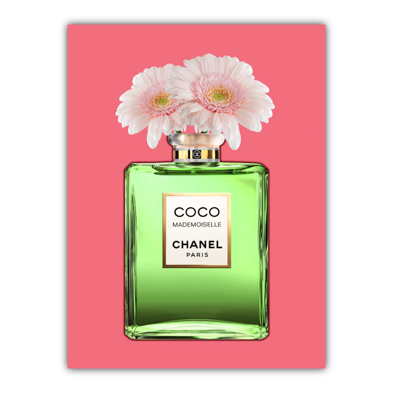 Green Coco Chanel With Flowers Canvas Wall Art Print