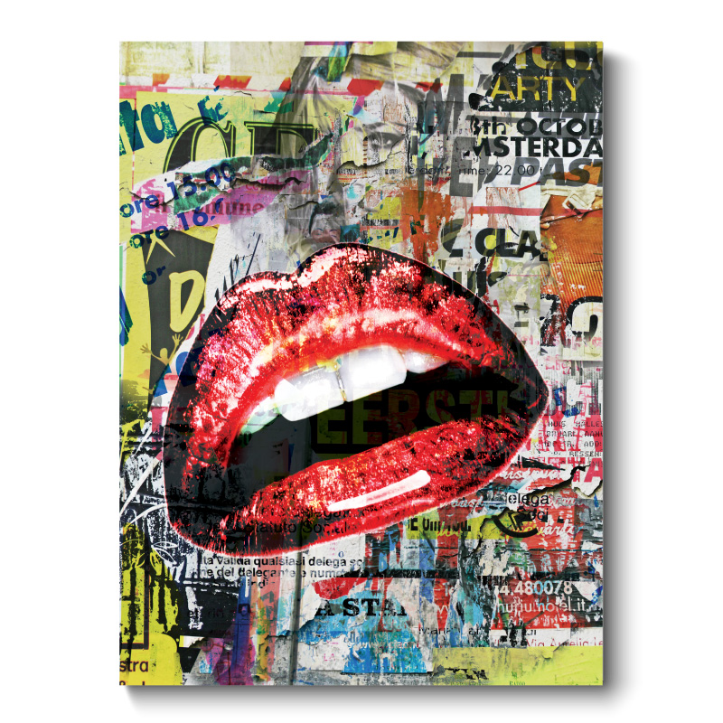 Lips Grunge Style Canvas Print