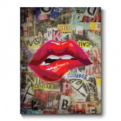 Red Lips Grunge Canvas Print