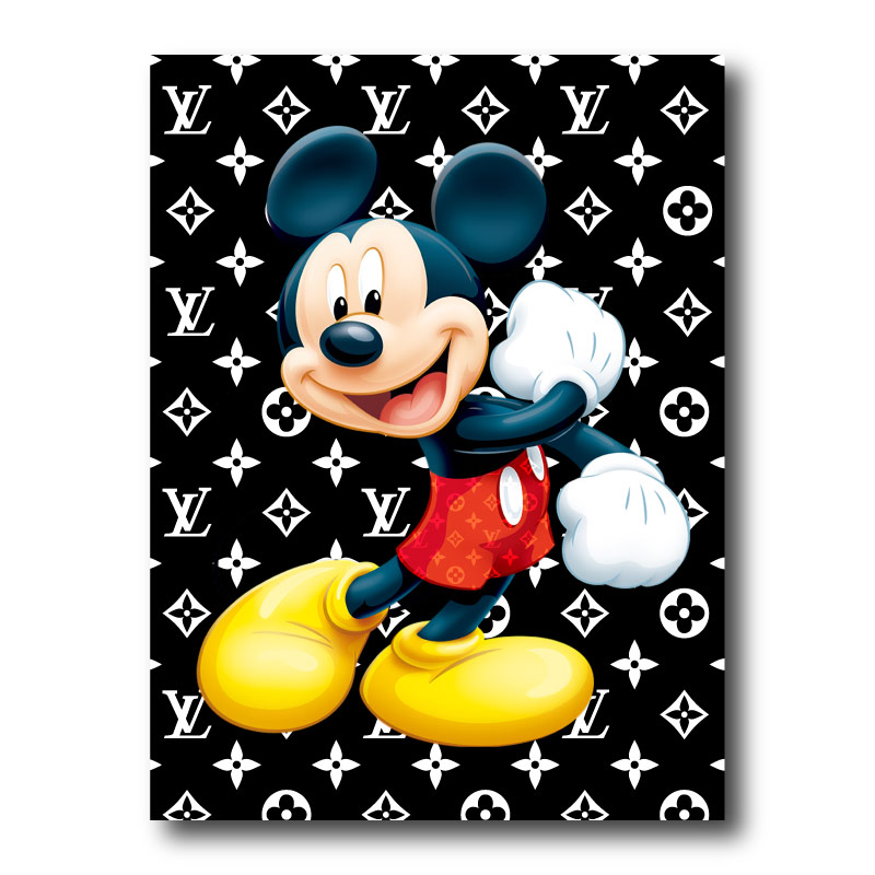 Mickey Mouse Louis Vuitton Black Canvas Wall Art Print