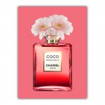 Red Coco Chanel With Flowers Canvas Wall Art Print