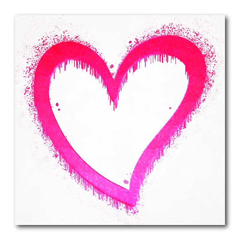 Dripping Heart in Pink Canvas Wall Art Print