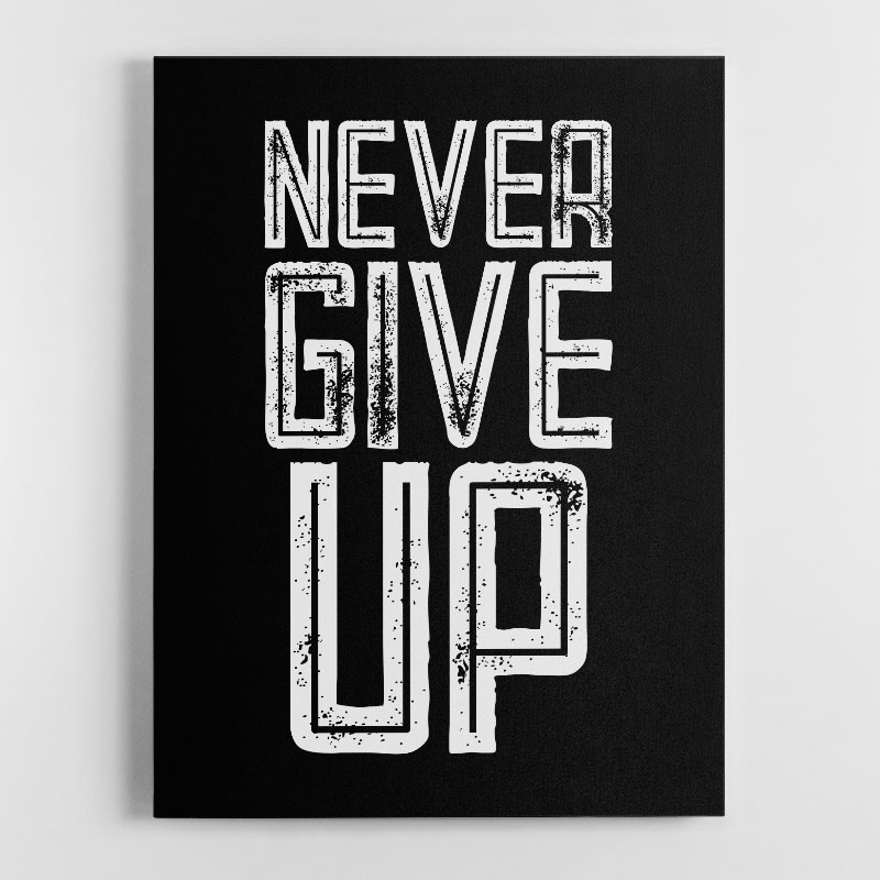 Never Give Up Motivational Canvas Wall Art Print