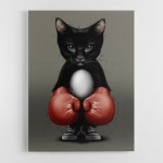 Kitty Boxer Canvas Wall Art Print