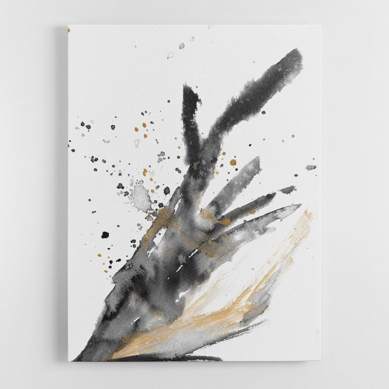 Black Ink with Gold By Louise Duggan Canvas Wall Art Print
