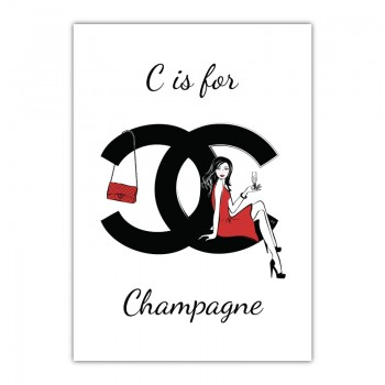 C is for Champagne Canvas Wall Art Print