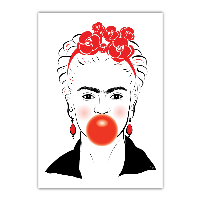 Frida Kahlo Bubble Gum Canvas Wall Art Print