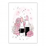 Lipstick and Flowers Canvas Wall Art Print