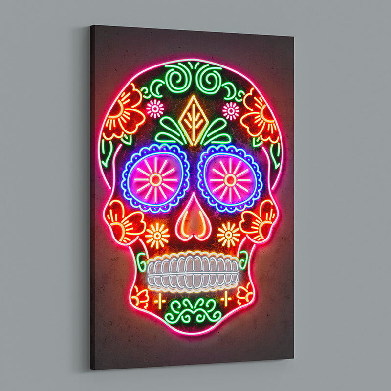 Day Of The Dead Skull Neon Wall Art Canvas Print