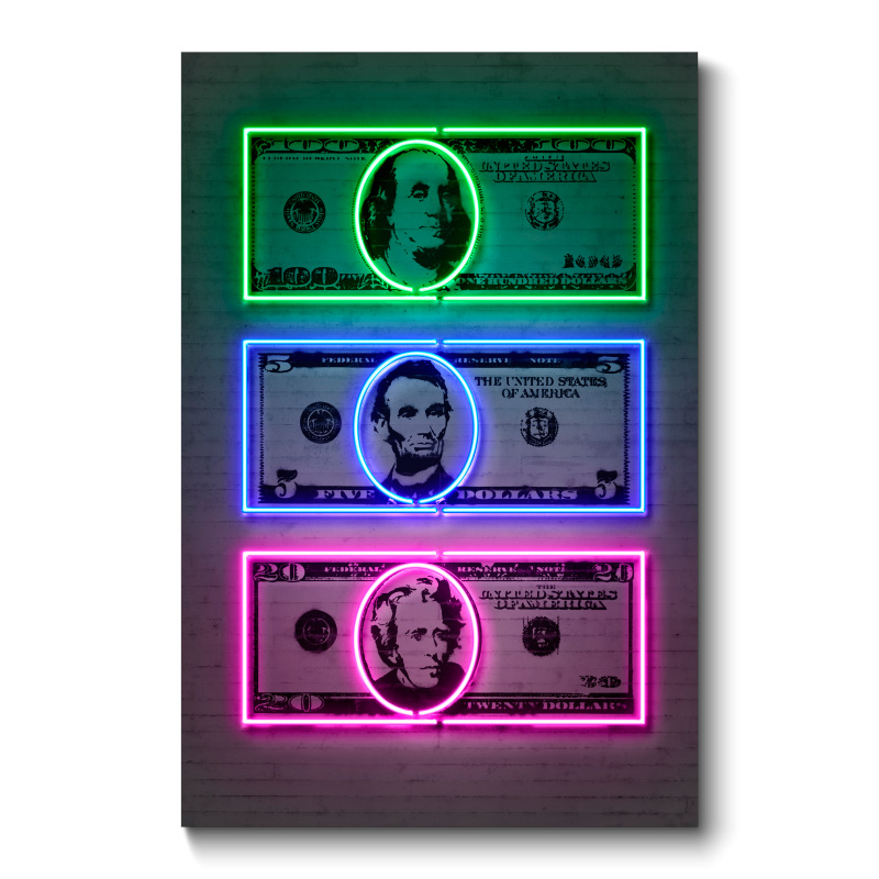 Dollars Neon Wall Art Canvas Print