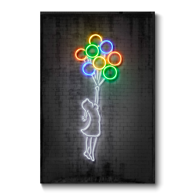 Flying Balloons Neon Wall Art Canvas Print