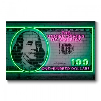 100 Dollars Neon Wall Art Canvas Print