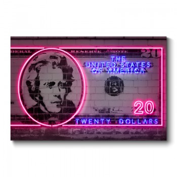 20 Dollars Neon Wall Art Canvas Print