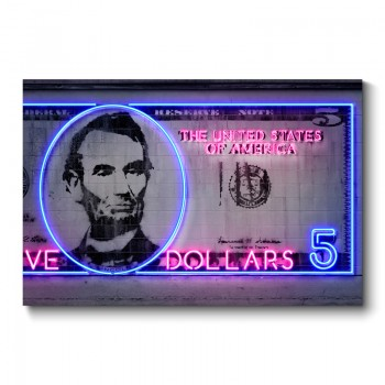 5 Dollars Neon Wall Art Canvas Print