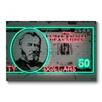 50 Dollars Neon Wall Art Canvas Print