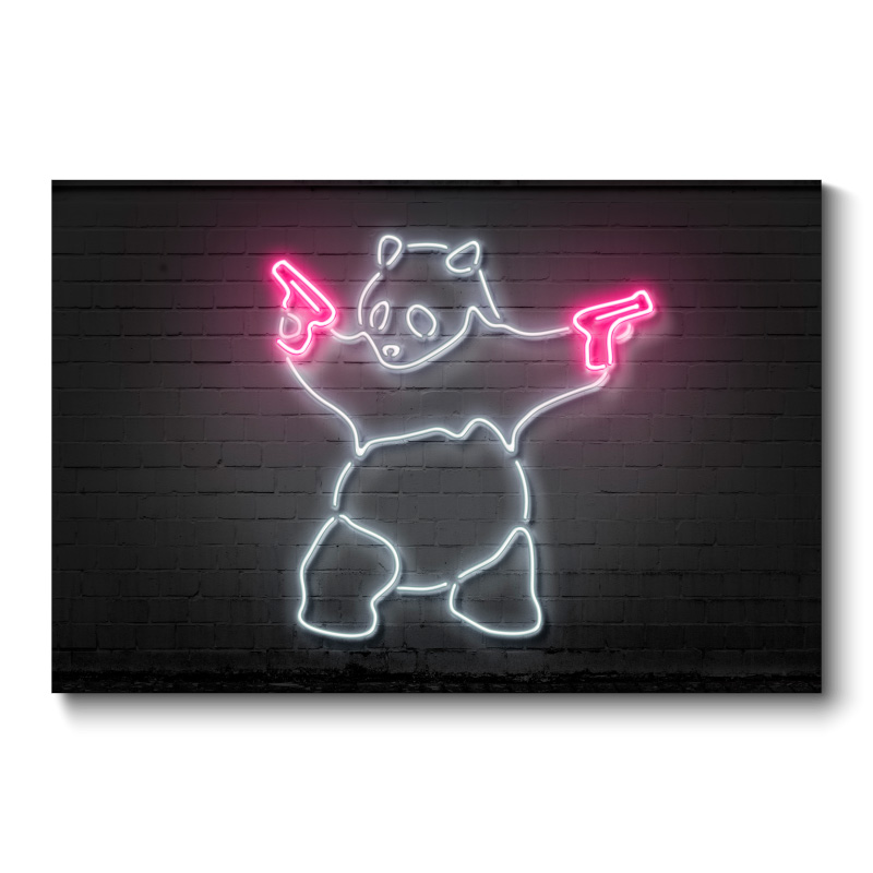 Banksy Panda Neon Wall Art Canvas Print