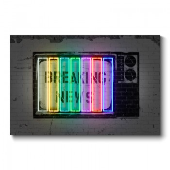 Breaking News Neon Wall Art Canvas Print