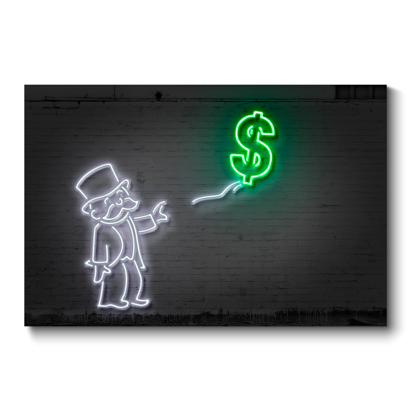Dollar Balloon Neon Wall Art Canvas Print