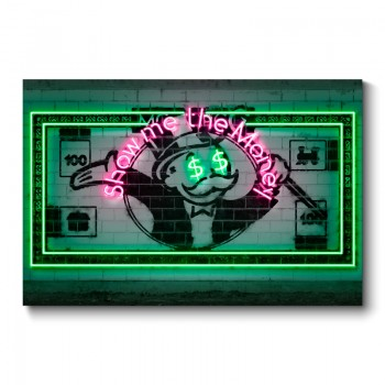 Show Me The Money Neon Wall Art Canvas Print