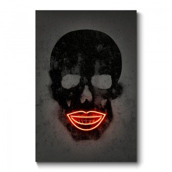 Black Skull Neon Wall Art Canvas Print