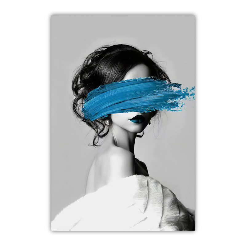 Abstract Blue Face Canvas Wall Art Print