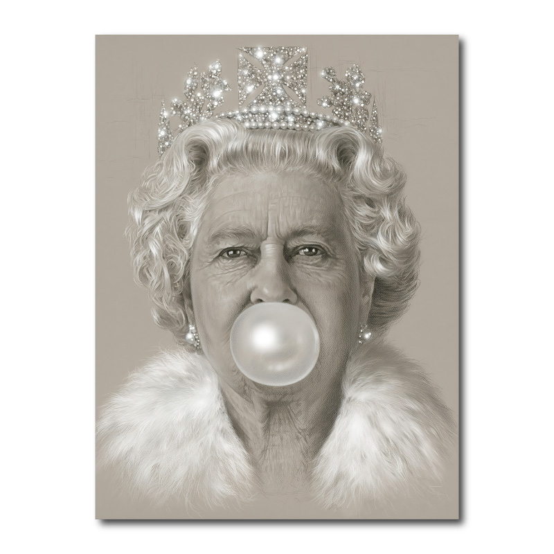 Queen Elizabeth II Bubble Gum Wall Art Canvas Print