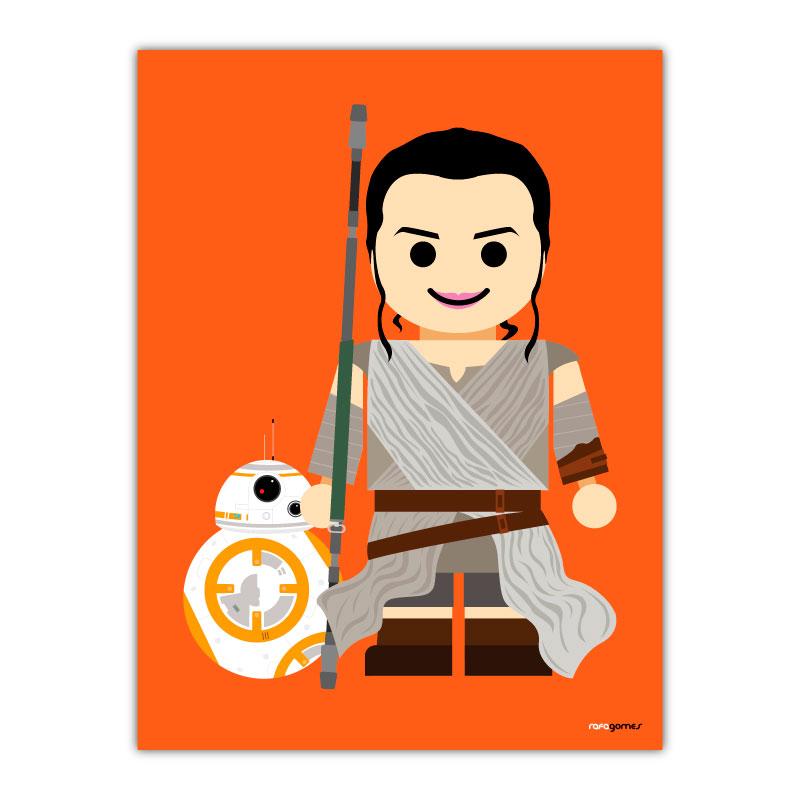 Rey and BB8 Toy Canvas Wall Art Print