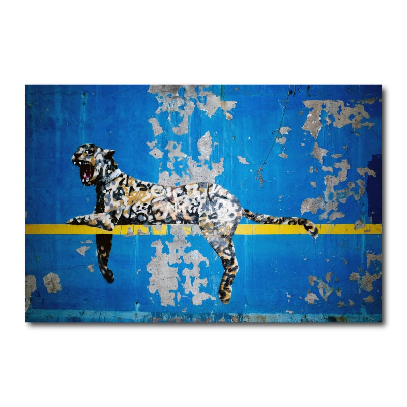 Banksy Blue Leopard Canvas Wall Art Print
