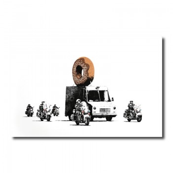 Banksy Chocolate Donut Canvas Print