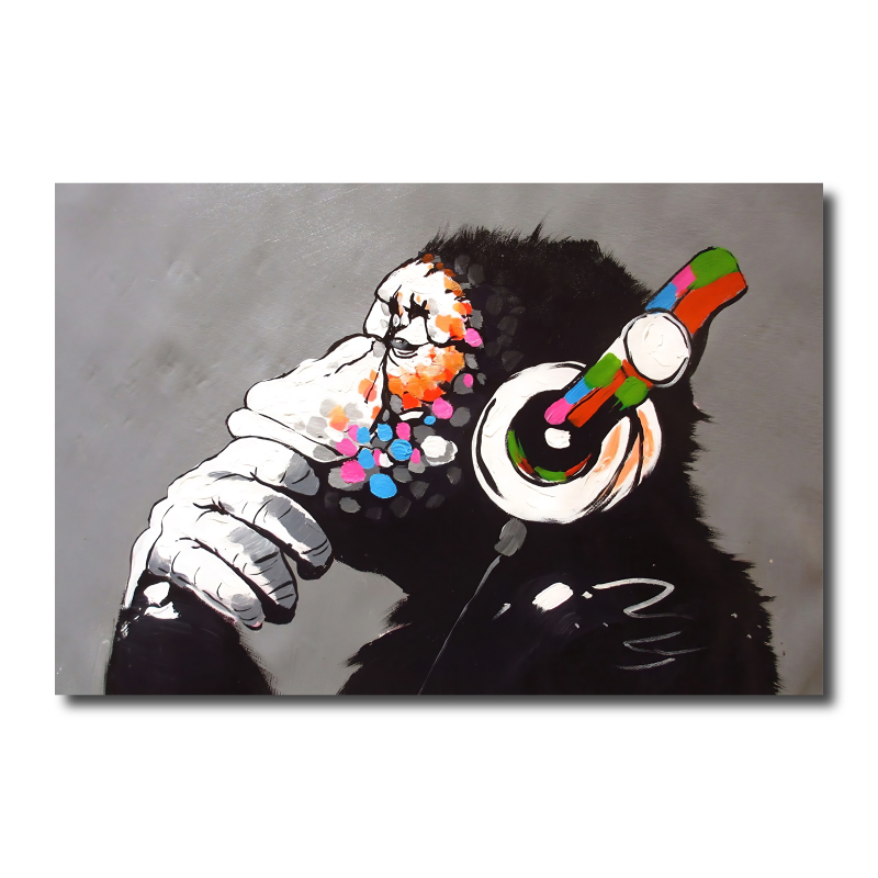 Banksy DJ Monkey Canvas Print