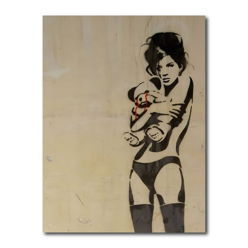 Banksy - Girl With Teddy Bear Canvas Print