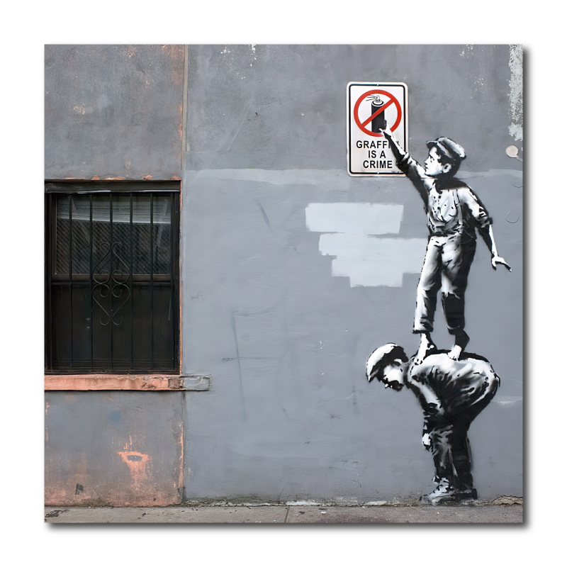 Banksy Graffiti Is A Crime Canvas Wall Art Print