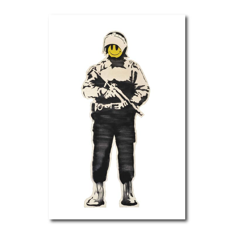 Banksy Smiling Copper Wall Art Canvas Print