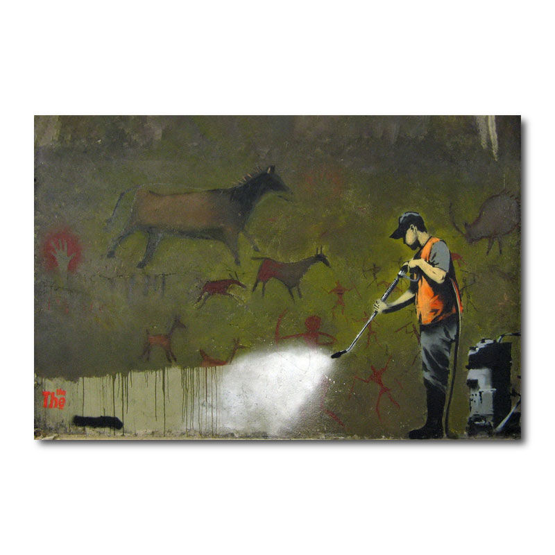 Banksy Graffiti Removal Canvas Wall Art Print