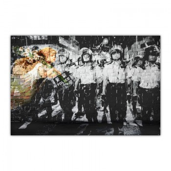 Hong Kong Riot Street Art Canvas Wall Art Print
