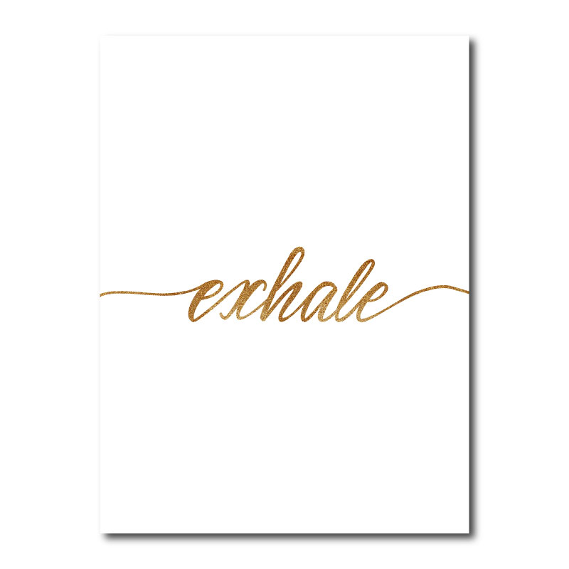 Exhale Gold Typography Canvas Wall Art Print