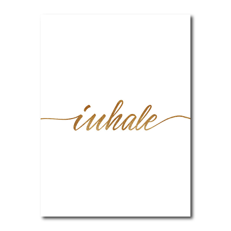Inhale Gold Typography Canvas Wall Art Print