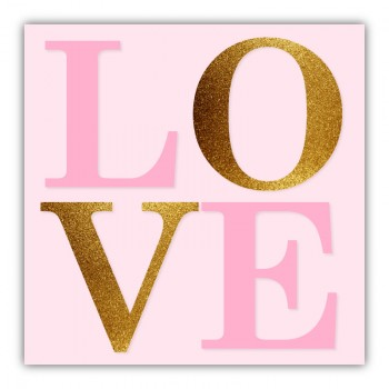 Love Pink & Gold Typography Canvas Wall Art Print