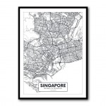 Singapore City Map Framed Print