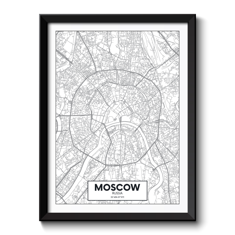 Moscow City Map Framed Print