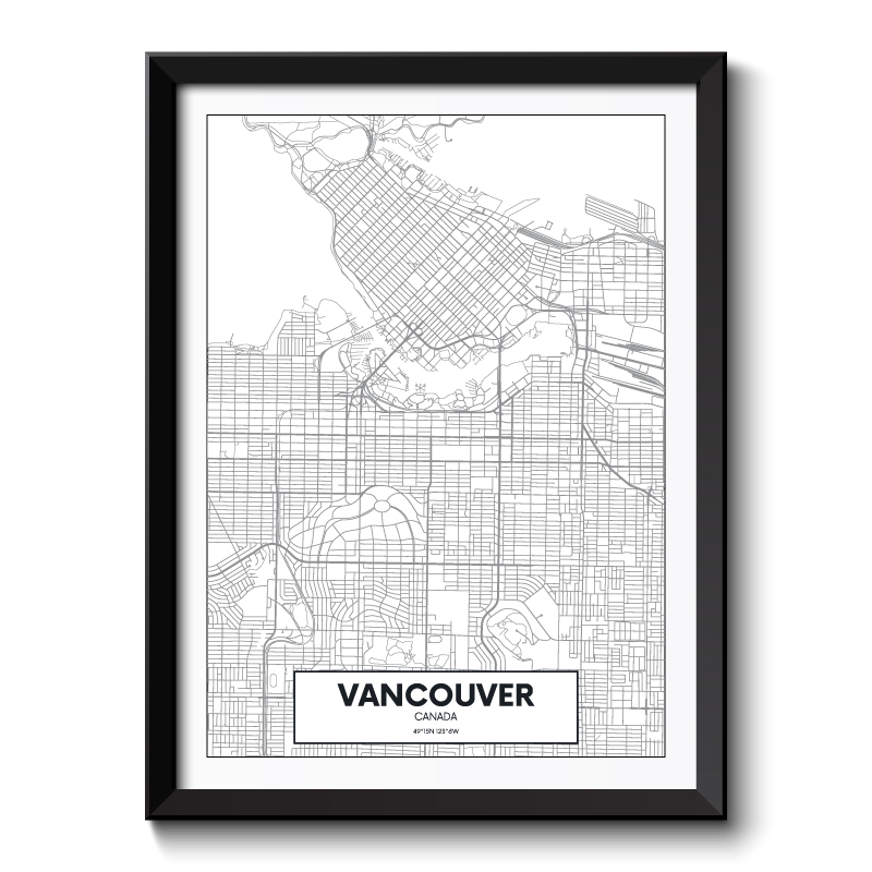 Vancouver City Map Framed Print