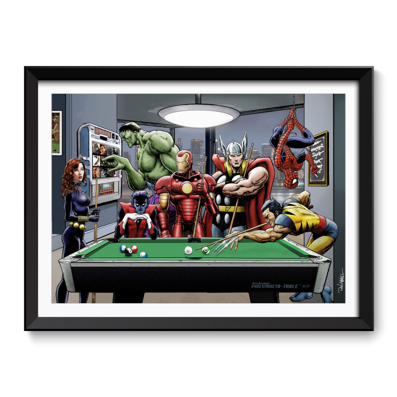 Afterhours Marvel Superheroes Relax Playing Pool Framed Wall Art Print