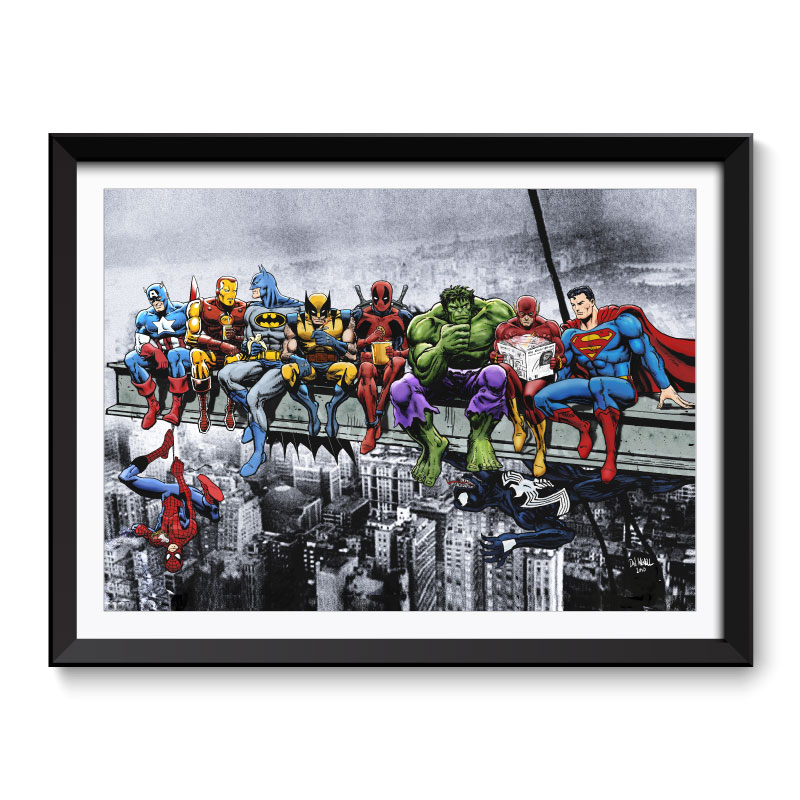 Marvel and DC Superheroes Lunch Atop A Skyscraper Framed Wall Art Print