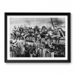 Marvel and DC Superheroes Lunch Atop A Skyscraper Black & White Framed Wall Art Print