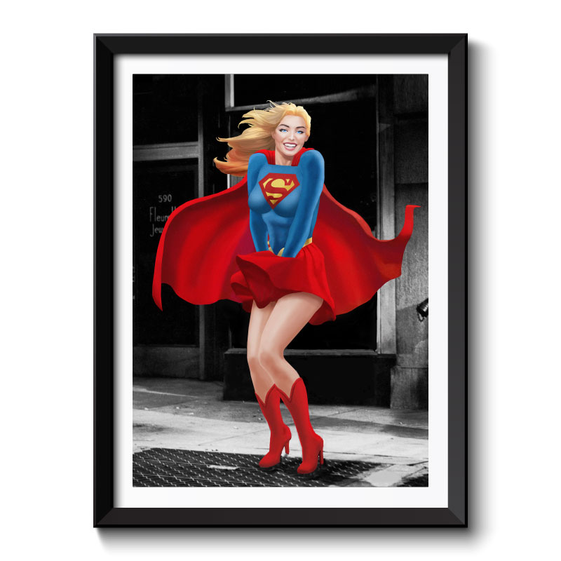 Supergirl Does A Monroe Framed Wall Art Print