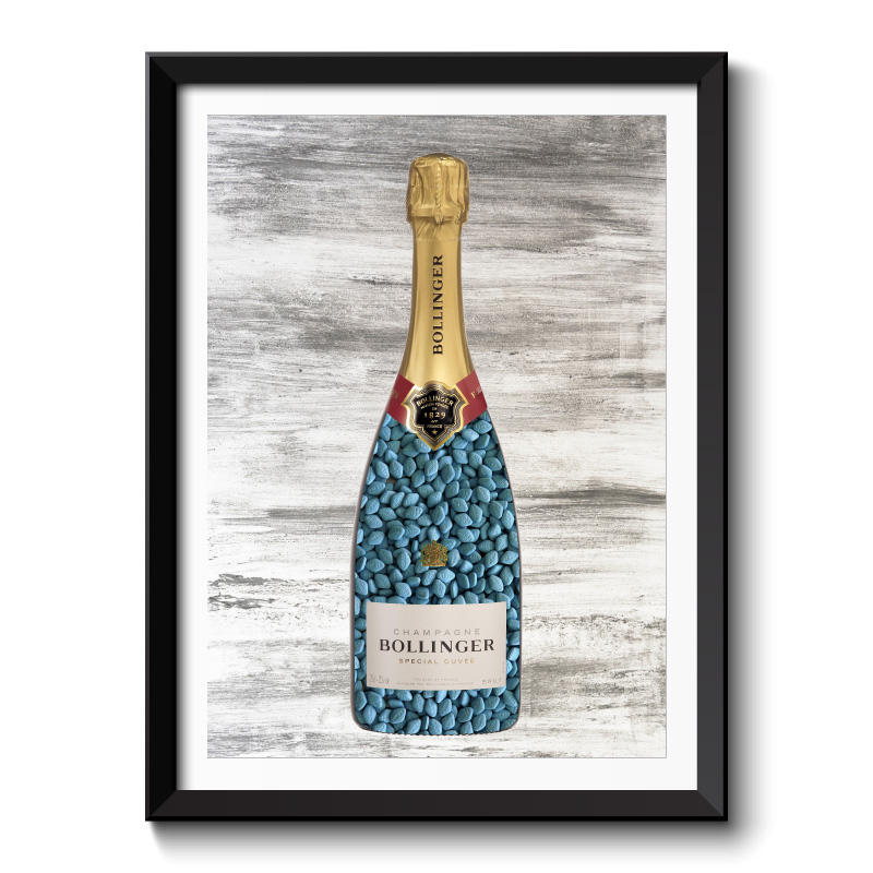 Blue Pills Champagne Wall Art Framed Print
