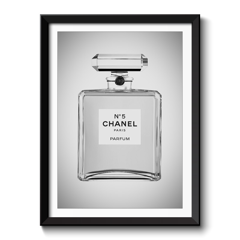 Chanel Perfume Bottle Black and White Framed Print
