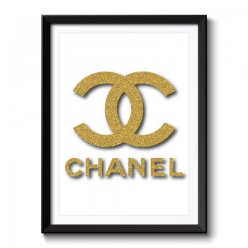 Chanel Gold Glitter Framed Print
