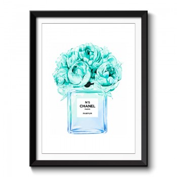Chanel No5 Blue Flowers Perfume Bottle Framed Art Print