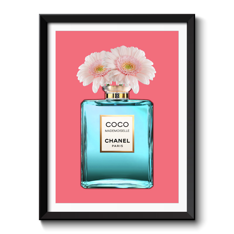 Blue Coco Chanel With Flowers Framed Art Print